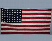 48 Star American Flag. Valley Forge. 58 1/2? x 115? Sewn Stars & Stripes. As Found.