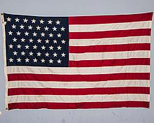 Rare 49 Star American Flag, Sewn. Defiance by Annin Company. 47? x 70?. As Found.