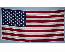 50 Star Valley Forge American Flag, Sewn. 58? x 115?. As Found. Clean.