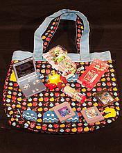 Video Game related group. Pac-Man Tote Bag, Nintendo Game Boy SP W/3 games,etc.