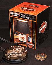Harley Davidson. 2008 Dual light desk lamp NIB, round leather purse, and medallion.