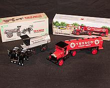 Diecast. Lot of 2 ERTLL Texaco diecast vehicle banks, MIB.