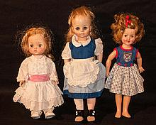 Vintage Dolls. 12? Ideal Shirley Temple,11? Effanbee doll, and another vintage doll 13?