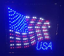 Animated, Waving USA Flag wall light. Stripes move in sequence when on. Really Cool.