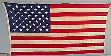 American Flag. 50 stars. Sewn. Valley Forge. Some Staining. 54? x 103?.