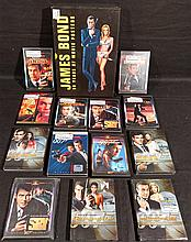 James Bond 007 lot. Large Movie Posters Book & 13 DVD Movies, 5 sealed NEW.