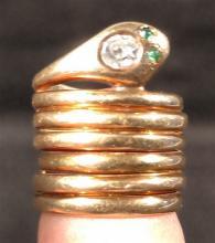 Jewelry.  Vintage 14k gold coiled snake ring w/ mine cut diamond eye & poss. Emerald nostrils.