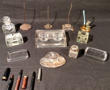 Antique Desk Items, over 10 pieces. Ink wells, etc.