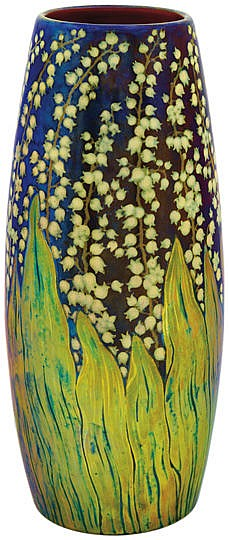 Zsolnay - Vase with convallaria decor, Zsolnay, 1898