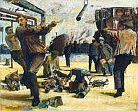 Lakner Laszlo (1936- ) Hajogyari munkasok, 1960