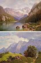 Telepy Károly (1828-1906), Lake in the mountains, Church in the mountains