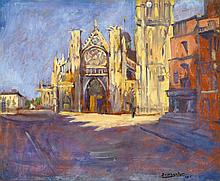 Basch Andor (1885-1944) Square of an Italian small town, 1925