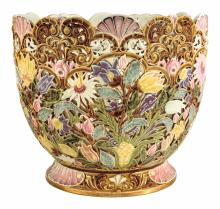 Zsolnay: Traced plant-holder from the Rococo-series, c. 1890