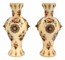 Zsolnay: Rosetted vase pair, c.1880