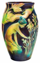 Zsolnay: Vase with relief, female figure dibbling, 1899