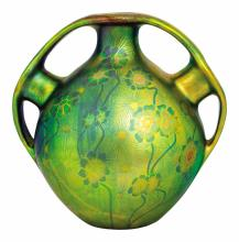 Zsolnay: Ball-vase with three-part handle, Zsolnay, c. 1900