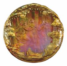 Zsolnay: Bowl wall decor with the Three Graces relief, 1902