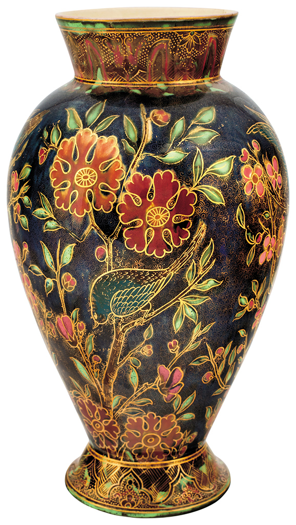 Zsolnay Vase With Blossoming Cherry Tree Branches And Songb