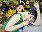 Frank Frigyes (1890-1976) Resting Mimi, 1929 (Mimi in green Cloth)