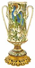 Zsolnay: Historic footed chalice with metal fitment