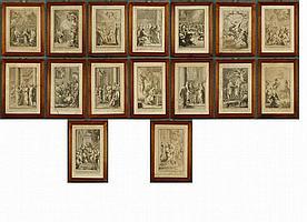 Sedici stampe su cartonicino tratte dalla Bibbia.