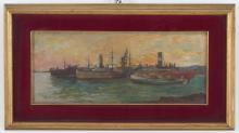 GIUSEPPE SACHERI. Oil on board 'MERCHANT SHIPS'