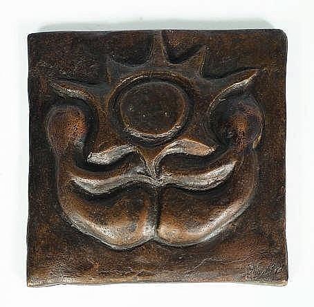 A square bronze plaque