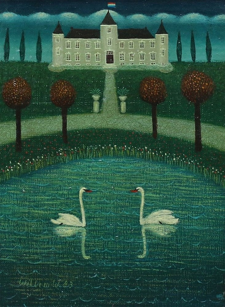 Willem Westbroek (1918-1998) Two swans in a pond near a castle. S