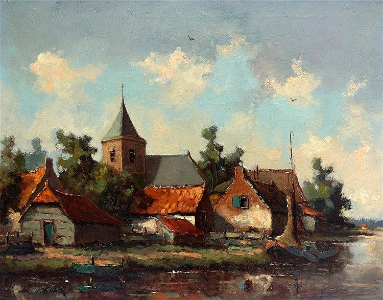 Jan Knikker (1911-1990) View on a village on the waterside. Signe