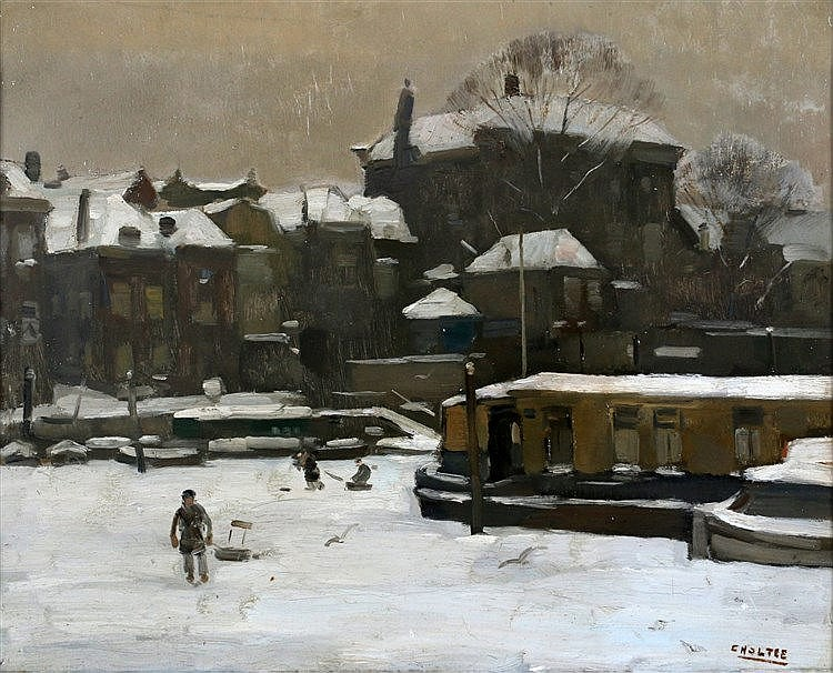Cor Noltee (1903-1967) Winter in Dordrecht with figures on the ic