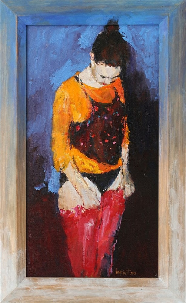 Dinie Boogaart (1963-) Girl with red stockings. Signed and dated