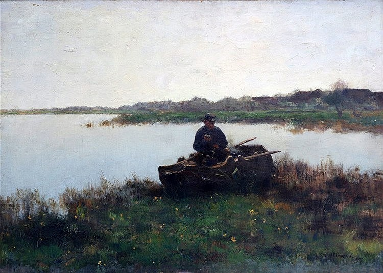 Gerard Altmann (1877-1940) Fisherman in his boat. Signed lower ri