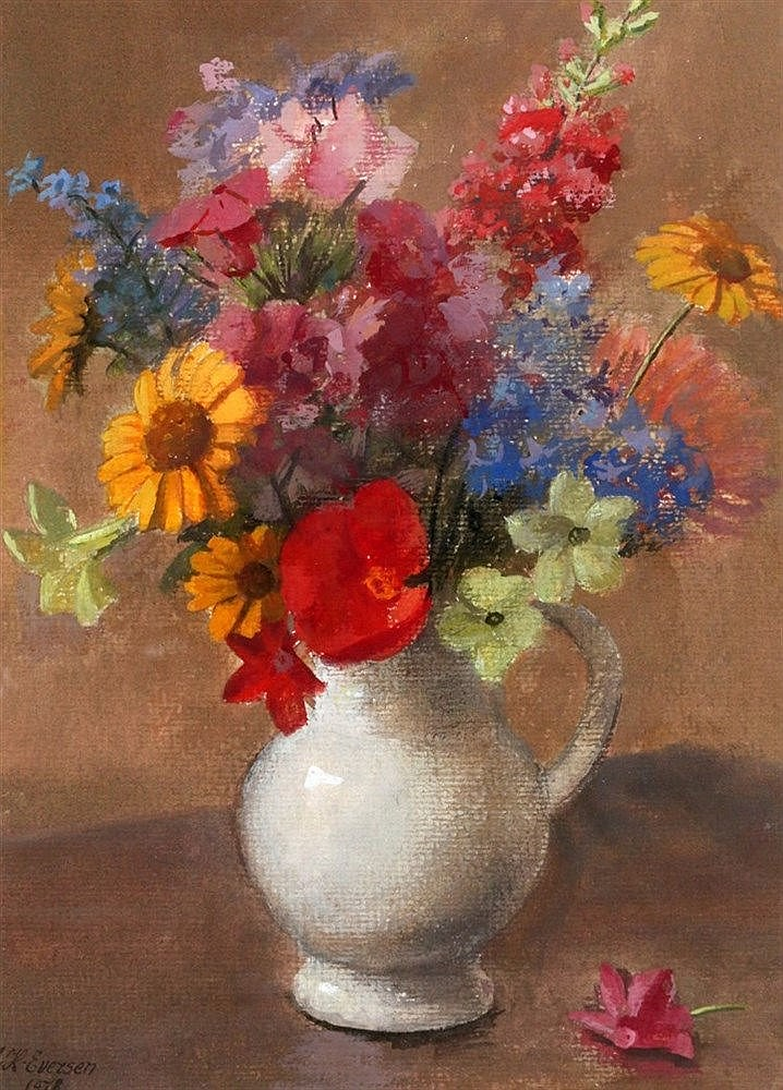 Johannes Hendrik Eversen (1906-1995) A still life with summer flo