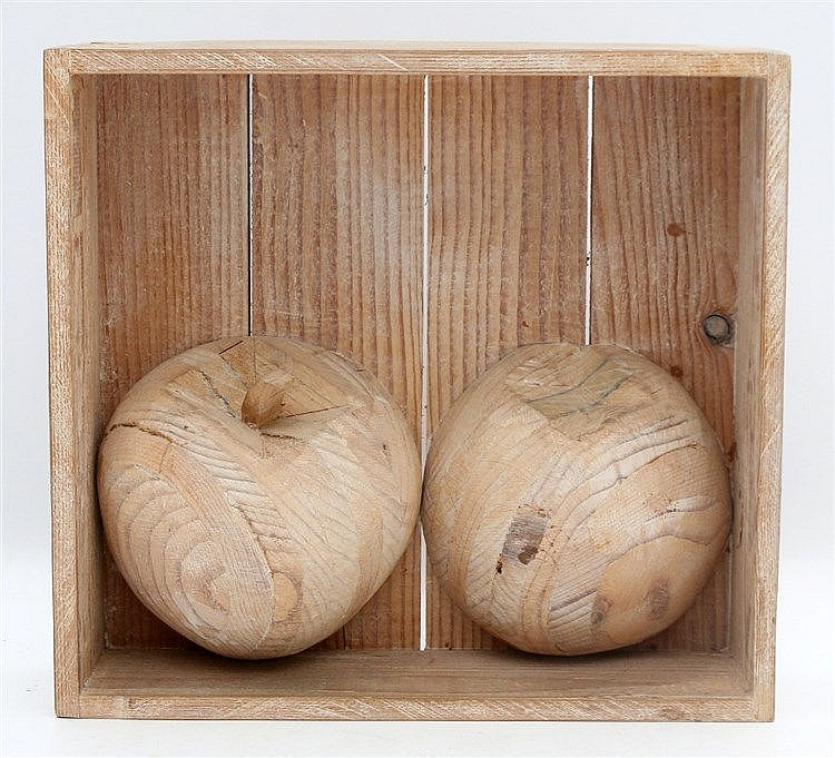 Kees Franse (1924-1982) A wooden sculpture. Two apples in a niche