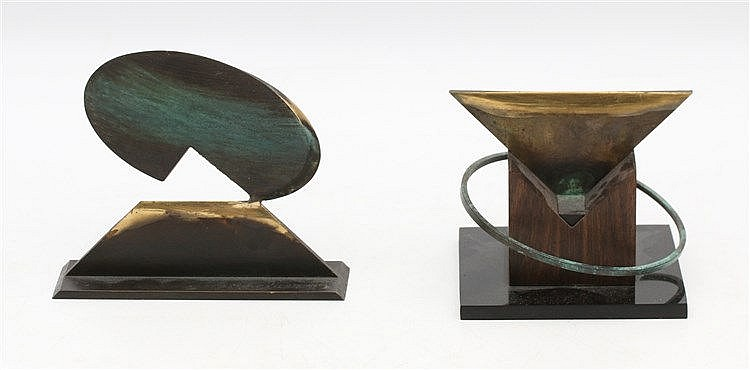 George Belzer (1937-2014) Two small bronze sculptures. Geometrica