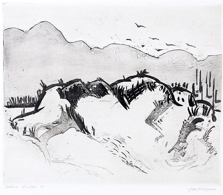 Jan Wiegers (1893-1959) Dune landscape. Signed lower right. Épreu