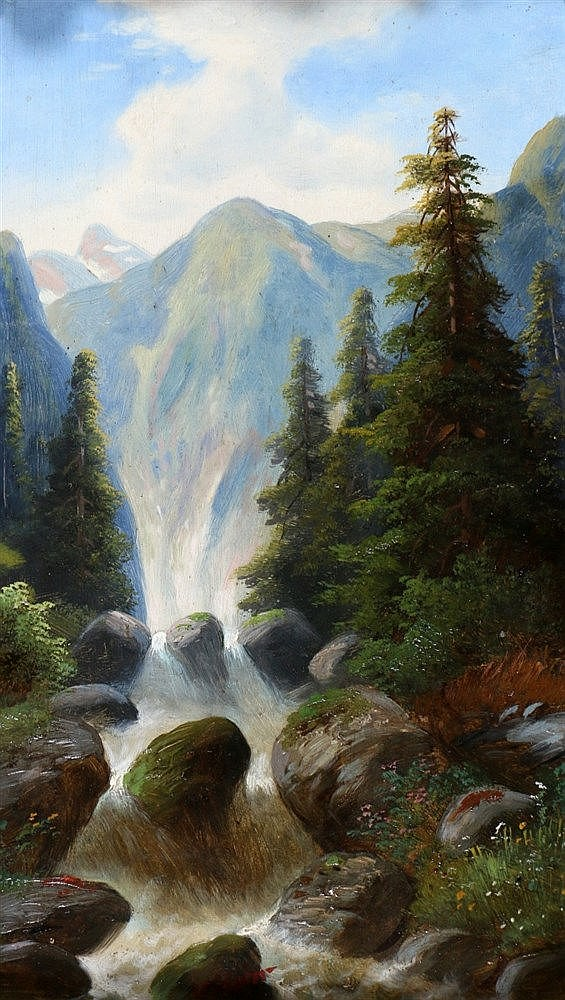 Hermann Moser (1835-) Waterfall in a mountainous landscape. Signe