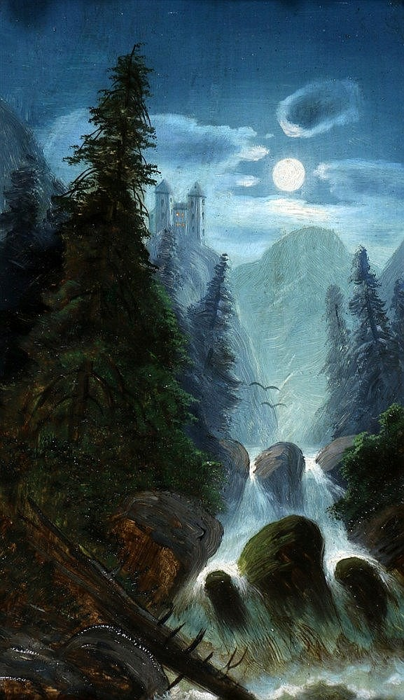 Hermann Moser (1835-) Mountainous landscape with waterfall by nig