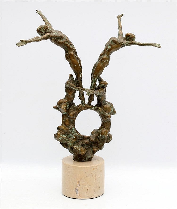Kees Verkade (1941-) Bronze sculpture, 'La Creation'. Four acroba