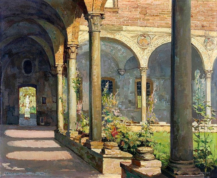 D.J. Hazelzet (1889-1953) Monastery garden. Signed lower right. N