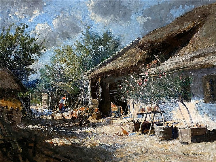 Ferenc Ujvary (1898-1971) A Hungarian farmyard. Signed lower righ
