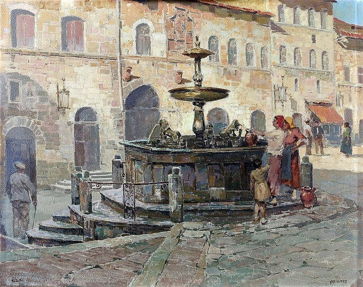 D.J. Hazelzet (1889-1953) Filling the jugs at the fountain. Signe