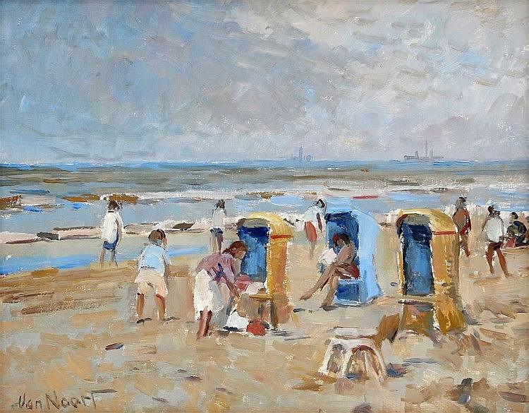 Adriaan Cornelis van Noort (1914-2003) Sunny day at the beach. Si