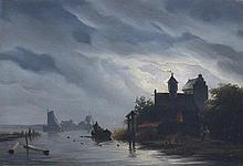 Pieter Hendrik Lodewijk Jonxis (1815-1852) A castle near a river