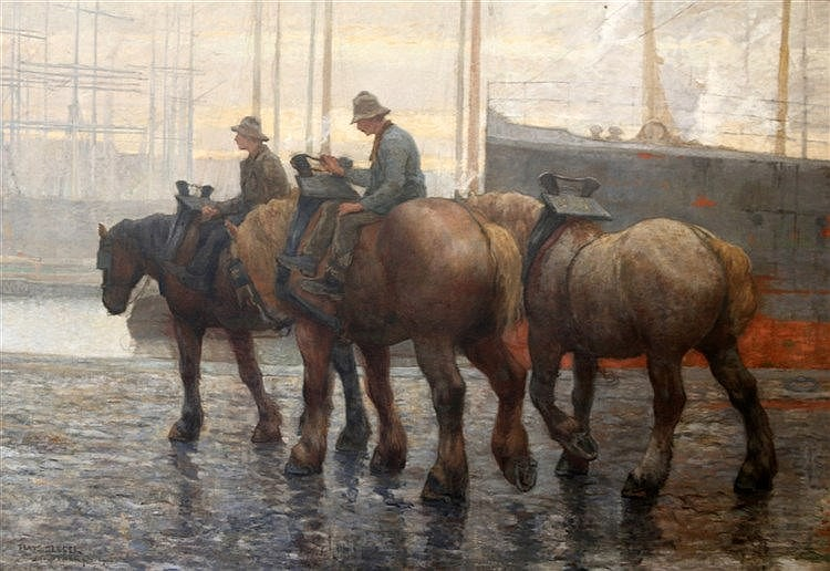 Frans Slager (1876-1953) Horses in the harbour of Antwerp. Signed