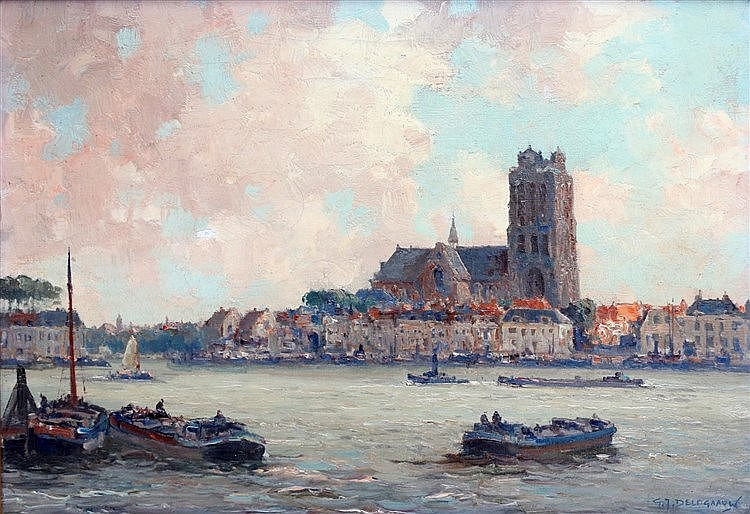 Gerard Delfgaauw (1882-1947) View of Dordrecht. Signed lower righ