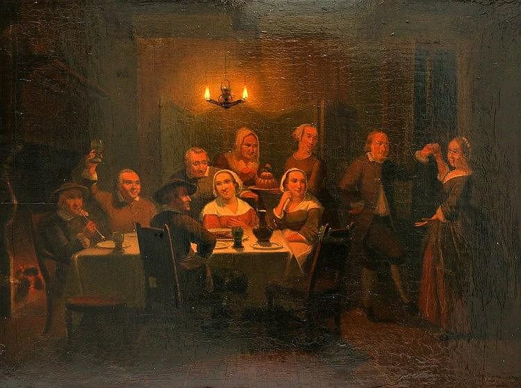 Pieter Gerardus Sjamaar (1819-1876) A candle-lit dinner. Signed l