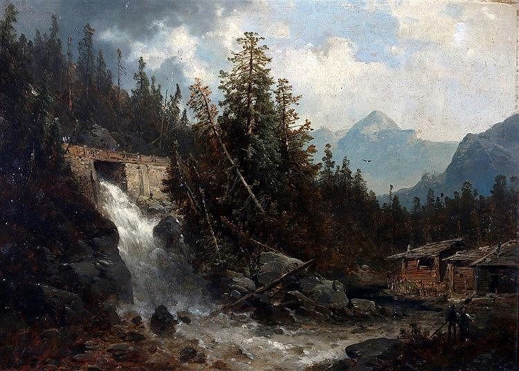 Josef Thoma (1828-1898) Abfaltersbach Pussterthale'. Mountainous