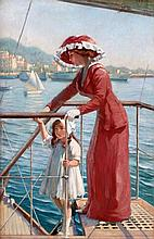 Franz Melchers (1868-1944) Mother and daughter by the coast of Ca