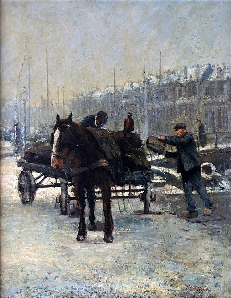 Hendrikus Gerardus de Korte (1930-) A horse cart in a wintery tow